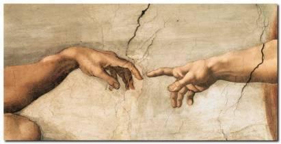 Michelangelo Buonarroti La creazione di Adamo dettaglio Quadro Stampa su Tela 27471