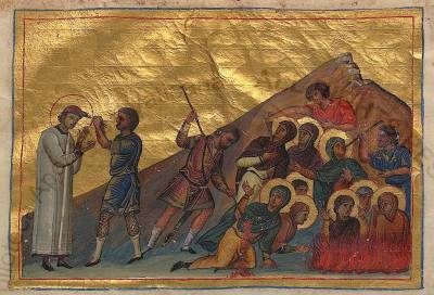 Holy 40 ascetic virgin martyrs and their teacher the Martyr Ammon the Deacon at Heraclea in Thrace