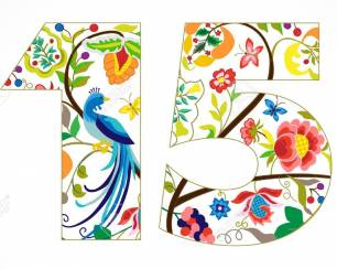 79271167 15 years old template colored 15 th happy anniversary greetings ethnics flowers plants paradise bird