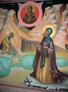The miracle of the Holy Water to St. Sabbas from the Theotokos