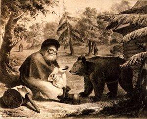Преп. Серавим Саровски храни мечка