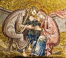 св. семейство, мозайка от манастира Хора в Цариград