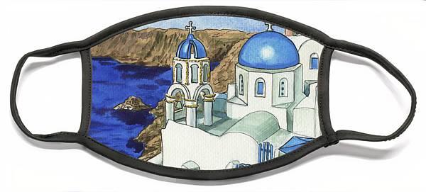 oia little town on santorini island blue roofs painting irina sztukowski