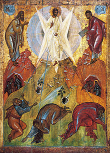 Transfiguration by Feofan Grek from Spaso Preobrazhensky Cathedral in Pereslavl Zalessky 15th c Tretyakov gallery.jpeg