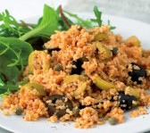 tomato bulgur wheat with olives